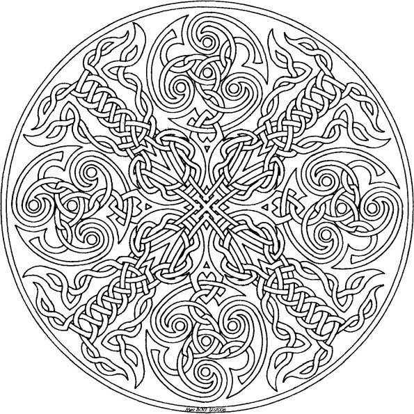 Coloriage pour adultes girl kissed by fire - Mandala beau et difficile ...